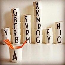 1 шт., портативные пластиковые чайные чашки, Экологичная чашка из пшеничной соломы, Кофейная, чайная, молочная, кружка для напитков, буквенный A-Z, чашка для детей, Прямая поставка