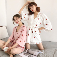Women Kawaii Kimono Pajamas Japanese Cute Strawberry Bathrobe Sexy Strap Lingerie Sleepwear Bandage Tops And Shorts Nightwear