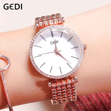 GEDI Luxury Women Watch Brands Crystal Rosegold Dial Fashion Clock Bracelet Watches Ladies Womenwrist Watches Relogio Feminino