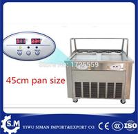 45cm automatic flat pan ice cream rolling roller machine stainless steel fried ice cream machine with defrost plate and cover