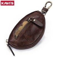 KAVIS Coin Purse Genuine Leather Men Wallet Mini Zipper Soft Purses Car Key Bag For Money Pocket Small Holder for Coin Chain