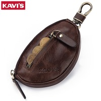 KAVIS Coin Purse Genuine Leather Men Wallet Mini Zipper Soft Purses Car Key Bag For Money Pocket Small Holder for Coin Chain