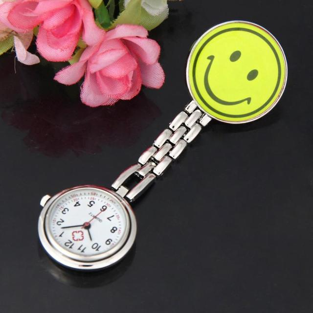 Nurse Watches 1 PC Brooch Fob Medical Nursery Clocks Colorful Smile Faces Quartz
