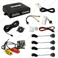 10-Color Car 4-sensor Parking Sensor With CCD 4-LED Night Vision Camera Rear View Reversing System #FD-1687