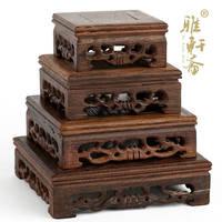 Ya Zhai mahogany base decoration crafts square base wing wood solid wood seat wooden teapot