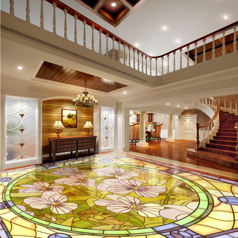 Free shipping custom Orchid marble parquet flooring thickened self-adhesive living room chinese style 3d floor murals wallpaper