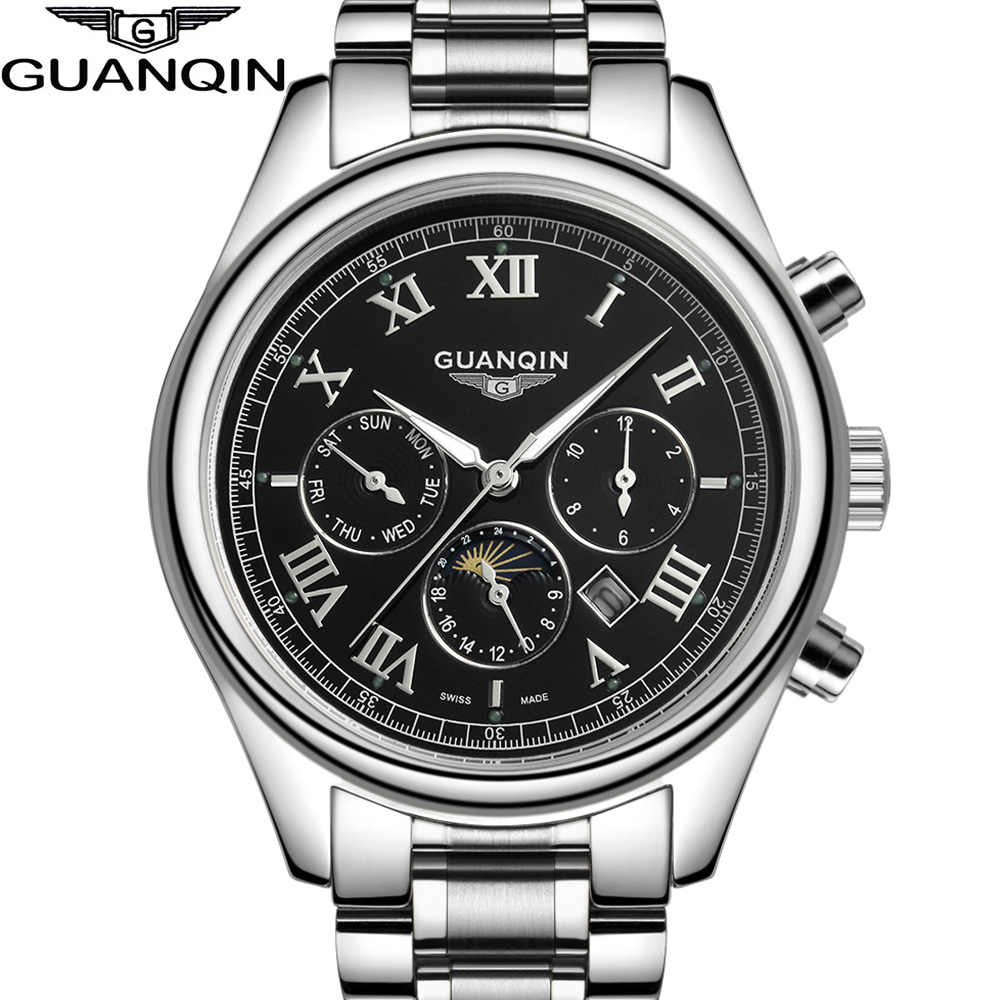 2015 New Arrival Luxury Brand Men Quartz Watches With Moon Phase Full Stainless Steel Silver Gold Wrist Watch relogio relojes relojes full stainless steel men s sprot watch black and white face vx42 movement