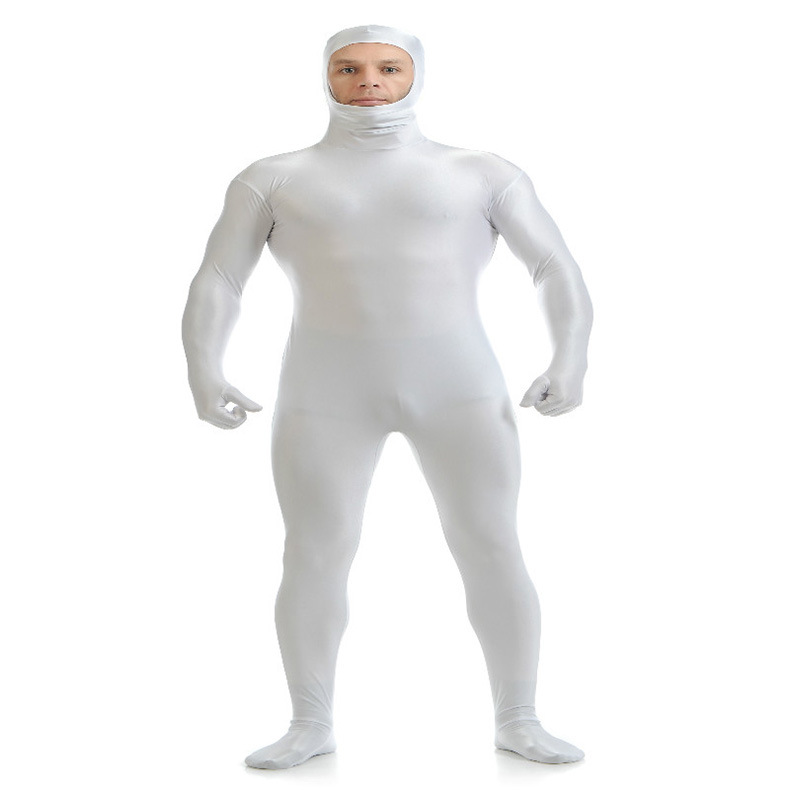 (SOF006) White Lycra Spandex Full Body Fetish Zentai Skin Tights Unisex Bodysuit Cosplay Costume Unitard Jumpsuit Dancewear