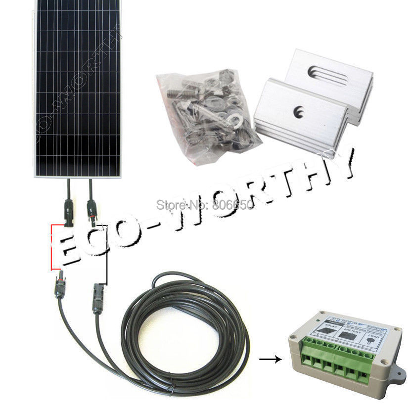 New USA Stock 150 Watt COMPLETE KIT Off Grid system PV Solar Panel for 12V battey for RV Boat * 300w solar system complete kit 3pcs 100w photovoltaic pv solar panel system solar module for rv boat car home solar system