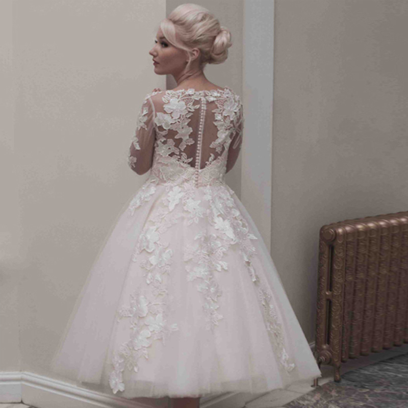 2016 A Line Mid Calf Garden Wedding Dresses Hot Log Full Sleeve V Neck Princess Tea Length Liques Lace Gowns In From