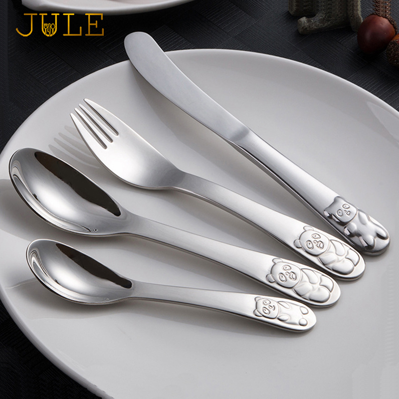 Children Tableware Cutlery Set 4Pcs Dinnerware Set China Panda Quality Kids Dinner Knives Forks Food Stainless Steel Dining Set