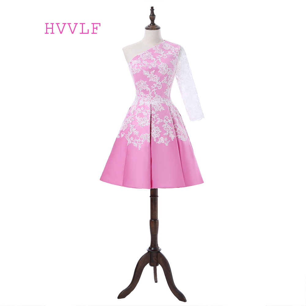 HVVLF Pink Cocktail Dresses 2019 A-line One-shoulder Half Sleeves Satin Appliques Lace Short Mini Homecoming Dresses