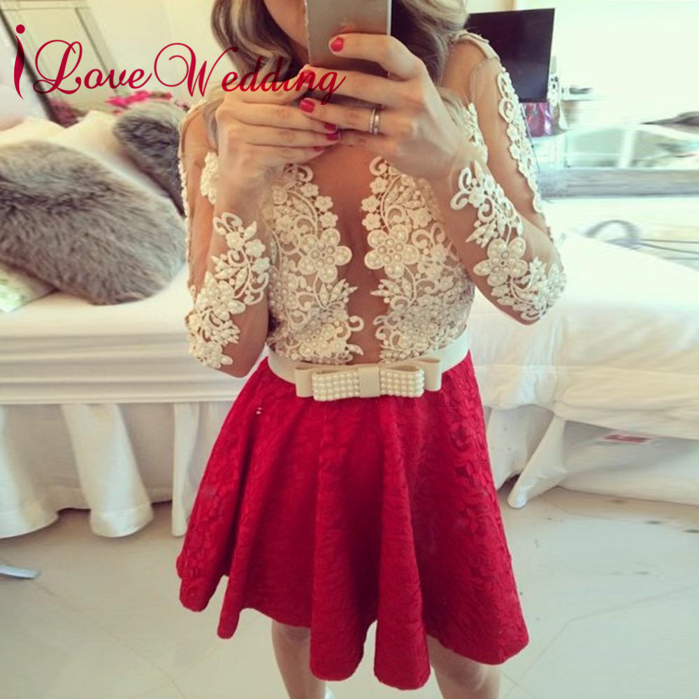 Vestidos de coctel 2018   Cocktail     Dress   Scoop Sheer Collar Ivory Lace Applique Pearl Beaded Red Skirt A Line Robe   cocktail