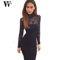 WYHHCJ 2017 브랜드 여성 우아한 웨딩 파티 섹시한 나이트 클럽 터틀넥 블랙 & 화이트 시스 Bodycon 레이스 드레스 Vestidos