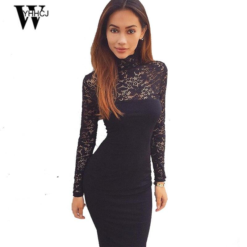 WYHHCJ 2017 Brand Womens Elegant Wedding Party Sexy Night Club turtleneck Black&White Sheath Bodycon Lace Dress Vestidos