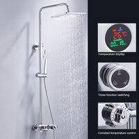 BAKALA термостатический ЖК душ с цифровым дисплеем кран набор хромированный душ с отделкой кран водопад дождь Душ головка 3 способа