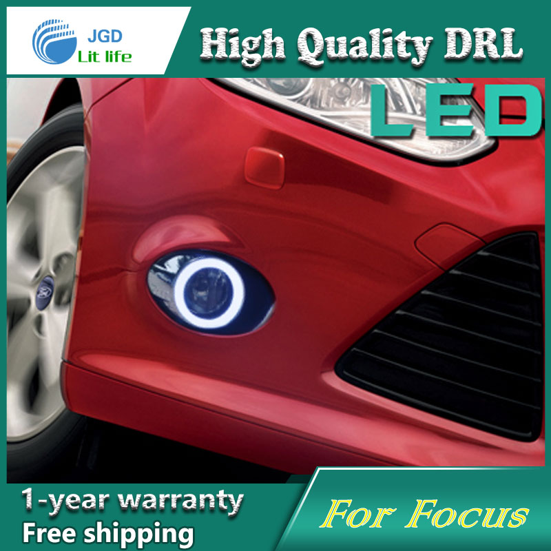 Free shipping !12V 6000k LED DRL Daytime running light case for Ford Focus 2012 fog lamp frame Fog light Car styling