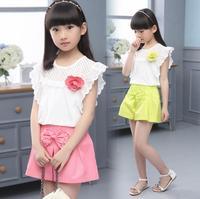 Fashion Korean New Spring And Summer Clothing Sets Baby Girls Bowknot Lace T Shirts Short Pants