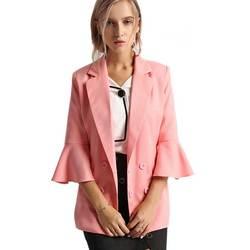 Three quarter flare sleeve leisure casual suits women jackets spring 2017 fashion slim pink oversuit blazer.jpg 250x250