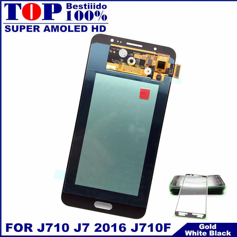100% AMOLED เปลี่ยน LCD สำหรับ Samsung Galaxy J7 2016 J710FN J710F J710M J710Y จอแสดงผล LCD Touch Screen Digitizer Assembly