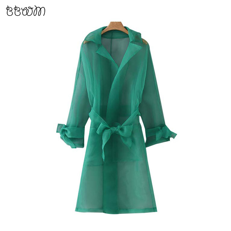 Stylish Chic Green Bow Tie Sashes Thin   Trench   Coat Elegant Women Long Sleeve See Through Ladies Outerwear Casual Casaco Femme