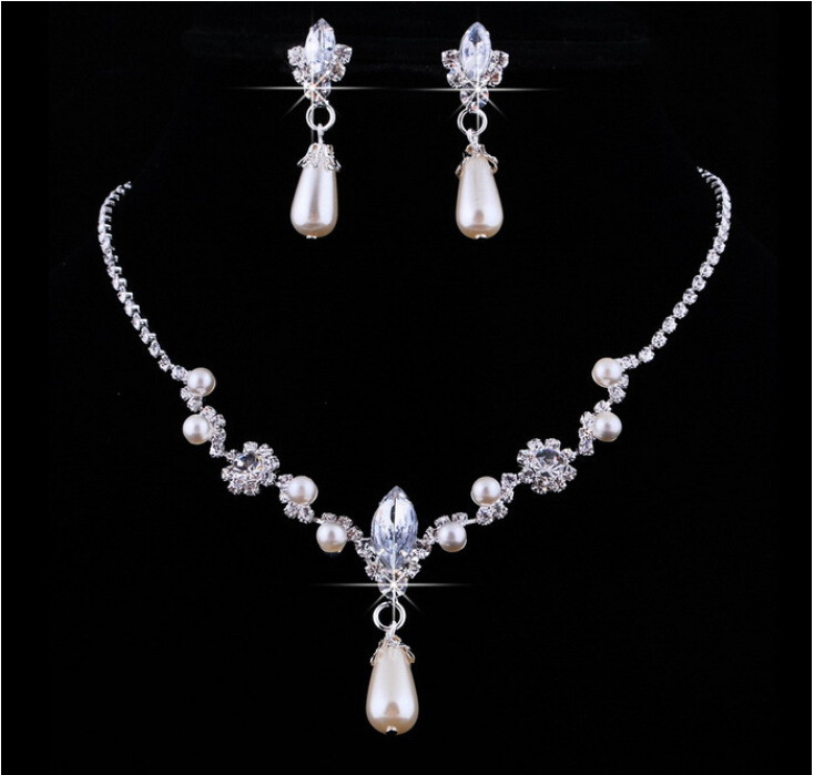 New Arrival Bride Jewelry Sets Water Drop Crystal+Pearl Earring Necklace Wedding Jewelery Sets Elegant Bride Style Free Shipping