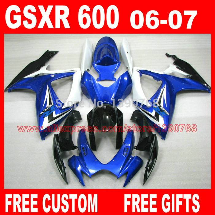 Fairings set for SUZUKI GSXR 600 750 2006 2007 black white blue fairing kit K6 gsxr600 06 07 GSX R750 bodywork HV1 автолампа диодная skyway s25 p21w