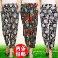 Mãe bloomers plus size calça casual feminina calças de comprimento no tornozelo elástica calças calças de viscose