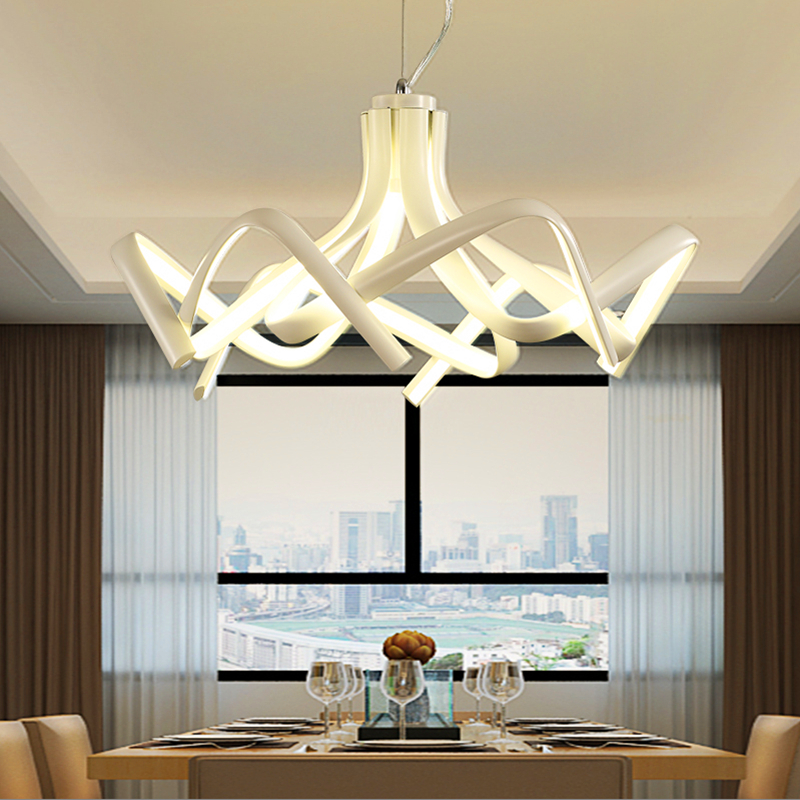 Postmodern Creative Led Lustre Pendant Lights Acrylic Aluminum For living Room Bedroom Pendant Lamps Dimmable Modern