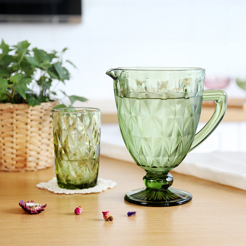 1300ML European Relief Cold Water Pot Cup Set Creative Color Glass Cold Cup Household Juice Pot