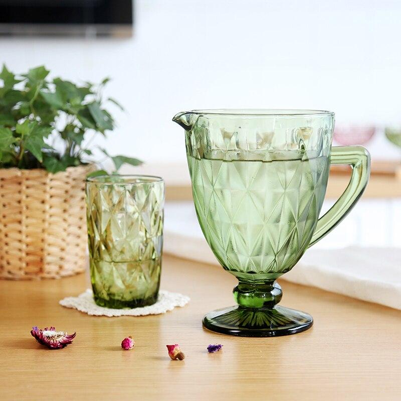 1300 ml Européenne Relief Pot D'eau Froide Tasse Set Creative Couleur Verre Froid Tasse Ménage Jus De Pot