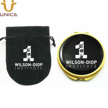 100pcs/lot Customized LOGO Gold Color Compact Mirrors & Velvet Gift Bag Custom Private Brand Label Golden Pocket Makeup Mirror