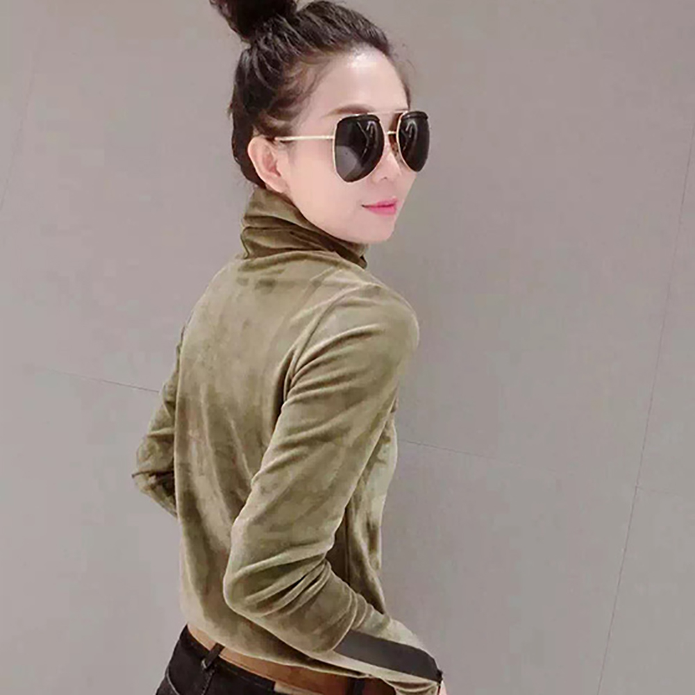 18 Woman Velvet Warm Bottoming Half Turtleneck Pullover Sweaters New Fashion Fall Korean Long Sleeve Pullover Sweater 4
