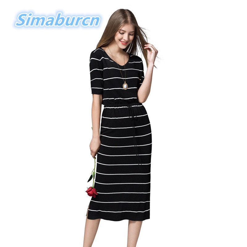 Elegant Slim Female Long Dress Knitted Dresses Women Short Sleeve Sexy V-Neck Casual Spring Straight Dress Ladies Striped Dress