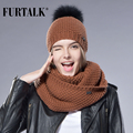 Woman Knitted Beanie Hat and Scarf Set Real Fox Fur Pom Pom Hats for Women Infinity Scarf  Fur hat Spring Autumn Girls Hat Cap