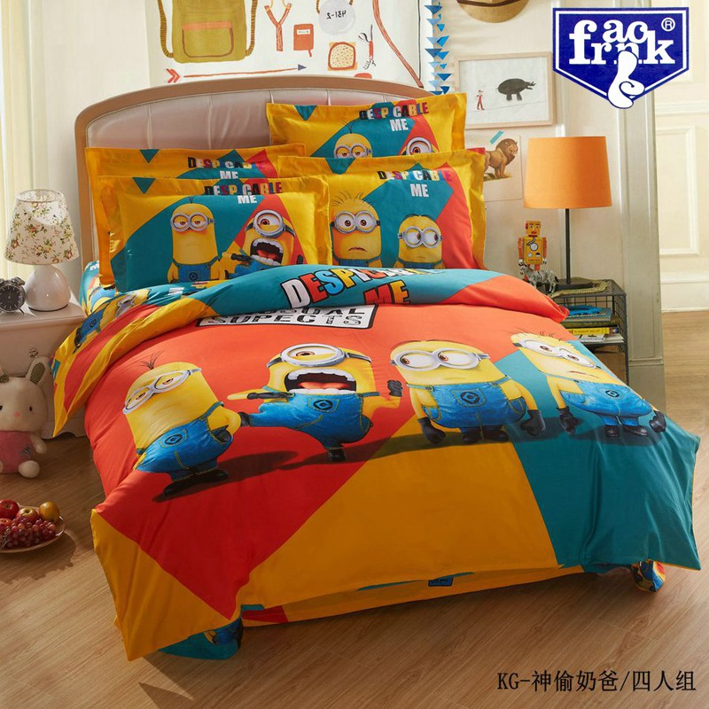Cute Despicable Minions Kids Bedding Set Queen King Size