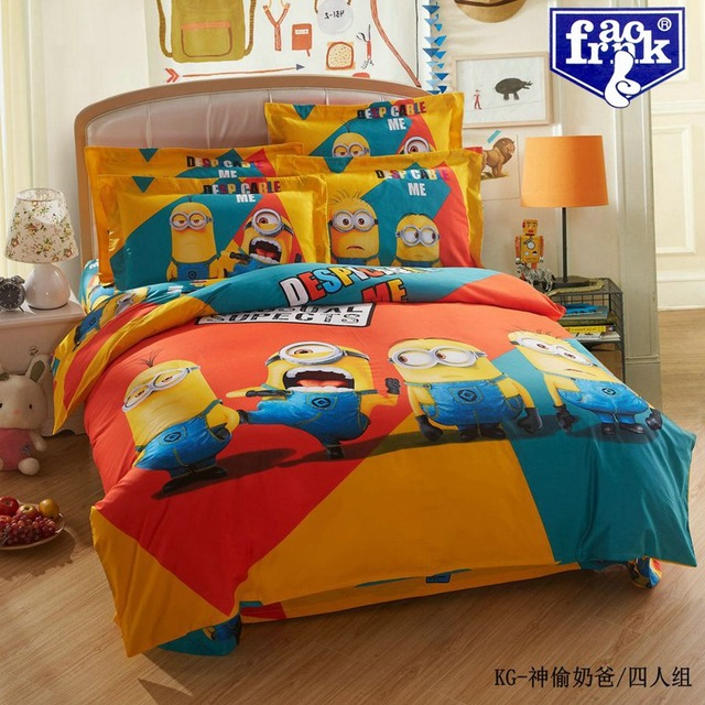 Cute Despicable Minions Kids Bedding Set,Queen King Size Comforter Sets  Quilt Cover Bed Sheets