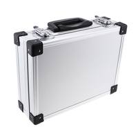 Aluminum Barber Tools Accessories Makeup Train Case Tattoo Box Hair Salon Styling Storage Holder Travel Carrying Case Silver