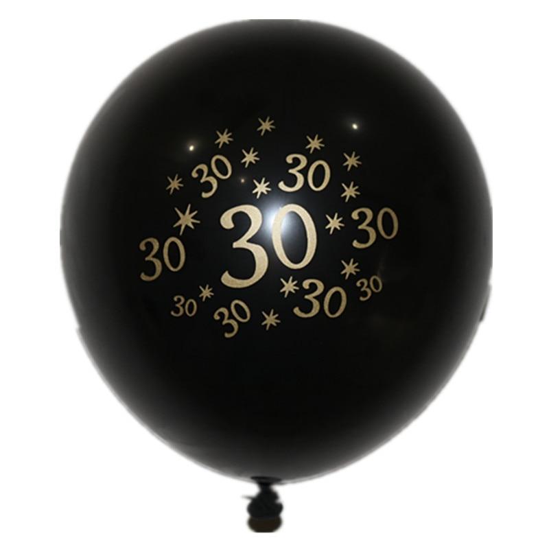 Happy 30th Birthday Party Decoration Latex Black Gold Balloon 10pcs Set