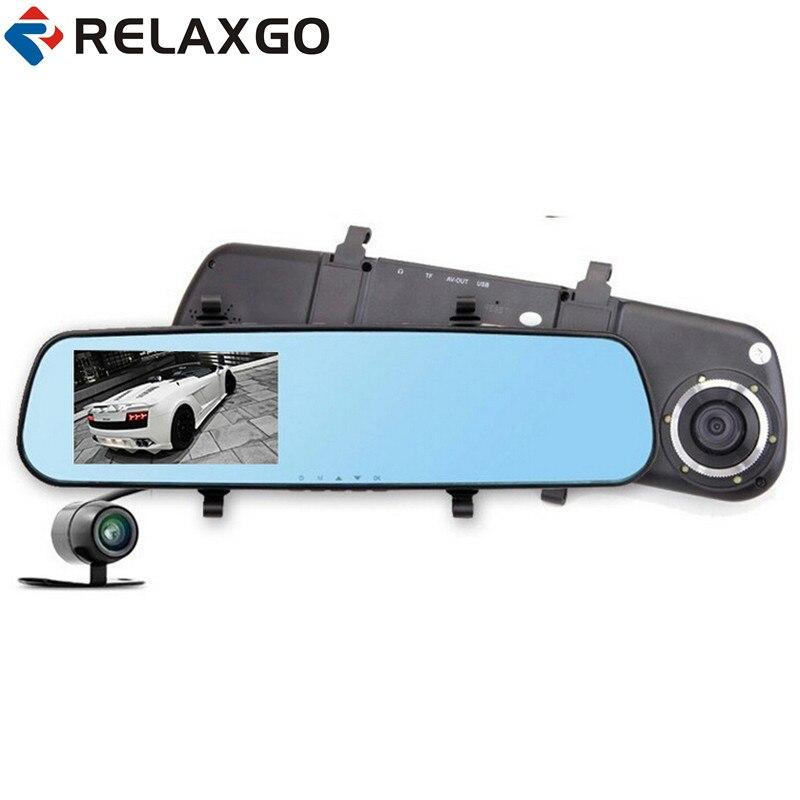 Relaxgo 4.3 double lentille voiture dvr 1080 p voiture rétroviseur dvr moniteur parking voiture caméra dash cam vision nocturne vidéo enregistreur