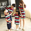 2016 summer children's wear short-sleeved striped Family fitted a four summer lovers mother daughter dresses