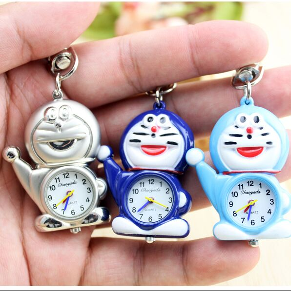 2016 new Children doraemon key chain pocket watch chain shape brand chaoyada watch kids gift