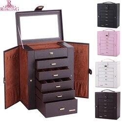 Шкатулка для ювелирных изделий большой вместимости, большая бабочка, косметичка, зеркальный Кожаный шкаф для ювелирных изделий, ожерелье, к...