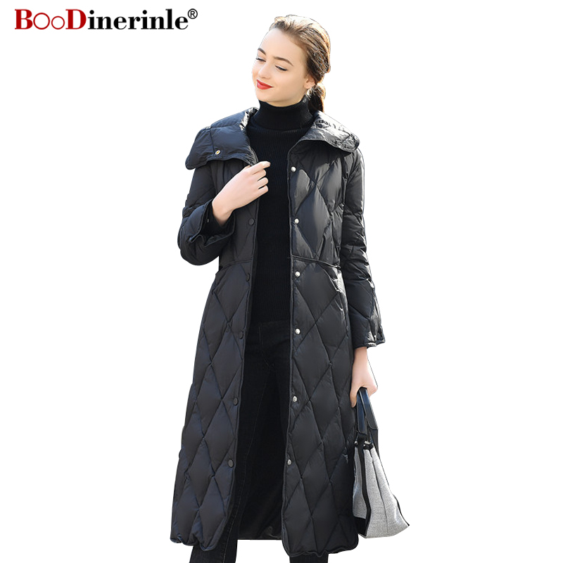 BOoDinerinle High-end Fashion   Down   Jacket 2018 Winter Women's White Duck   Down     Coat   Female Warm Over Knee Long Outwear YR129