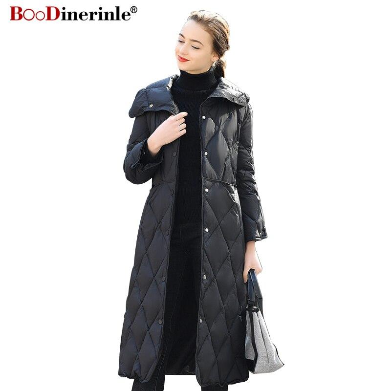 BOoDinerinle haut de gamme mode doudoune 2018 hiver femmes blanc canard vers le bas manteau femme chaud sur le genou longue Outwear YR129