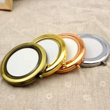 Wholesale 100pcs/lot Compact Mirrors DIY Portable Metal Makeup Mirror 2X Magnifying Silver and Copper Free Shipping
