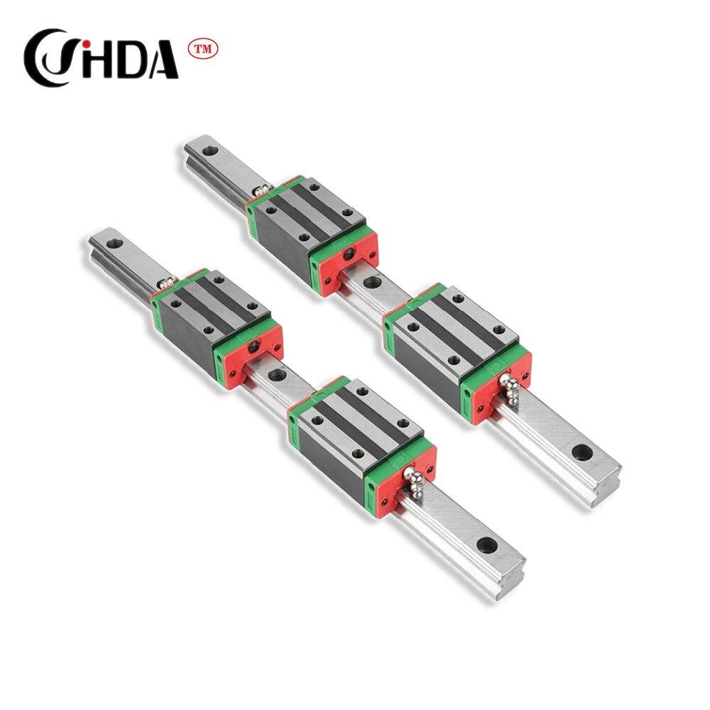 Livraison gratuite 2pcs le rail de guidage linar + HGH20 4 pièces HGH20CA HGW20CC rails de guidage linéaire bloc pièces de CNC