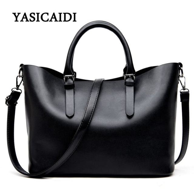 Drop Shipping Large Capacity Pu Leather Handbags Women Shoulder Bag Casual  Tote Bags Female Famous Brands Luxury Shoulder Bag-in Shoulder Bags from  Luggage ... 60a7e9b454709