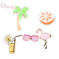 5Pcs Lot Women Summer Style Shirt Collar Brooch Pins Coconut Tree Crane Beach Set Brooches For