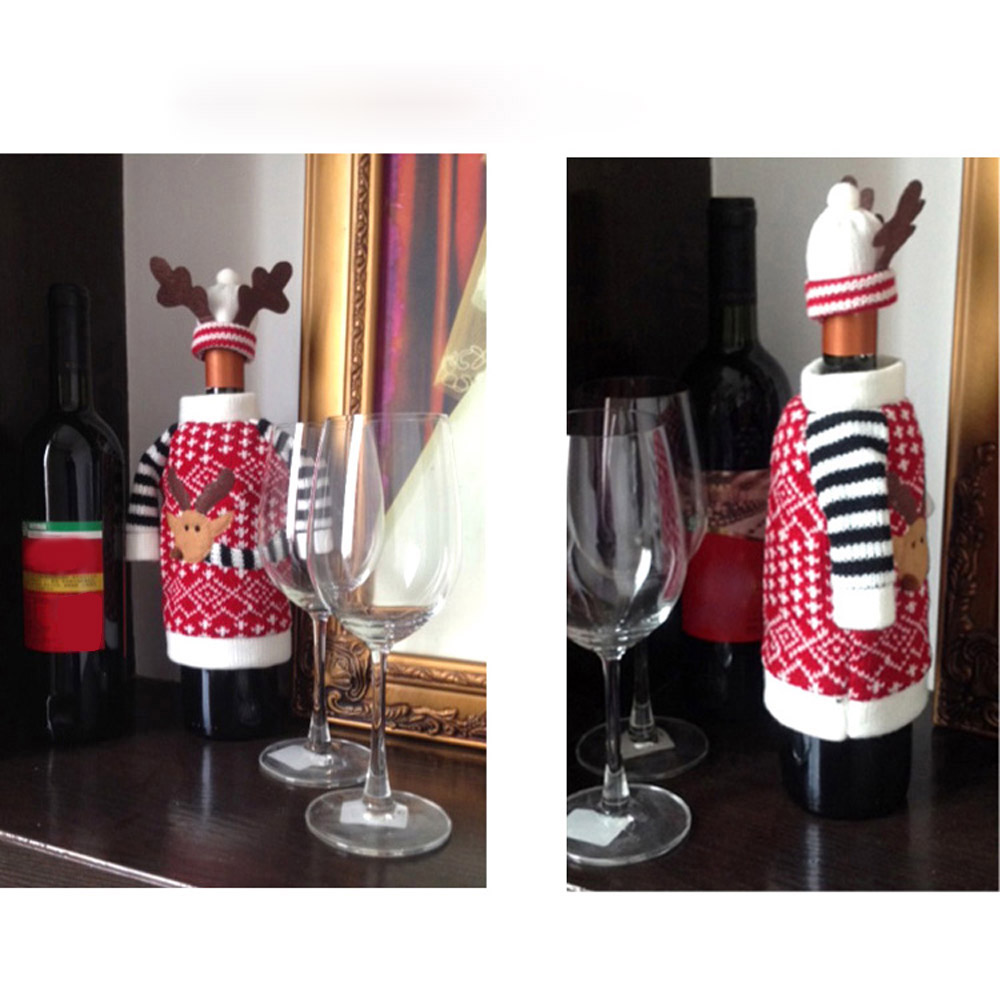 Elk wine bottle cover christmas party decoration for Christmas bottle decoration ideas
